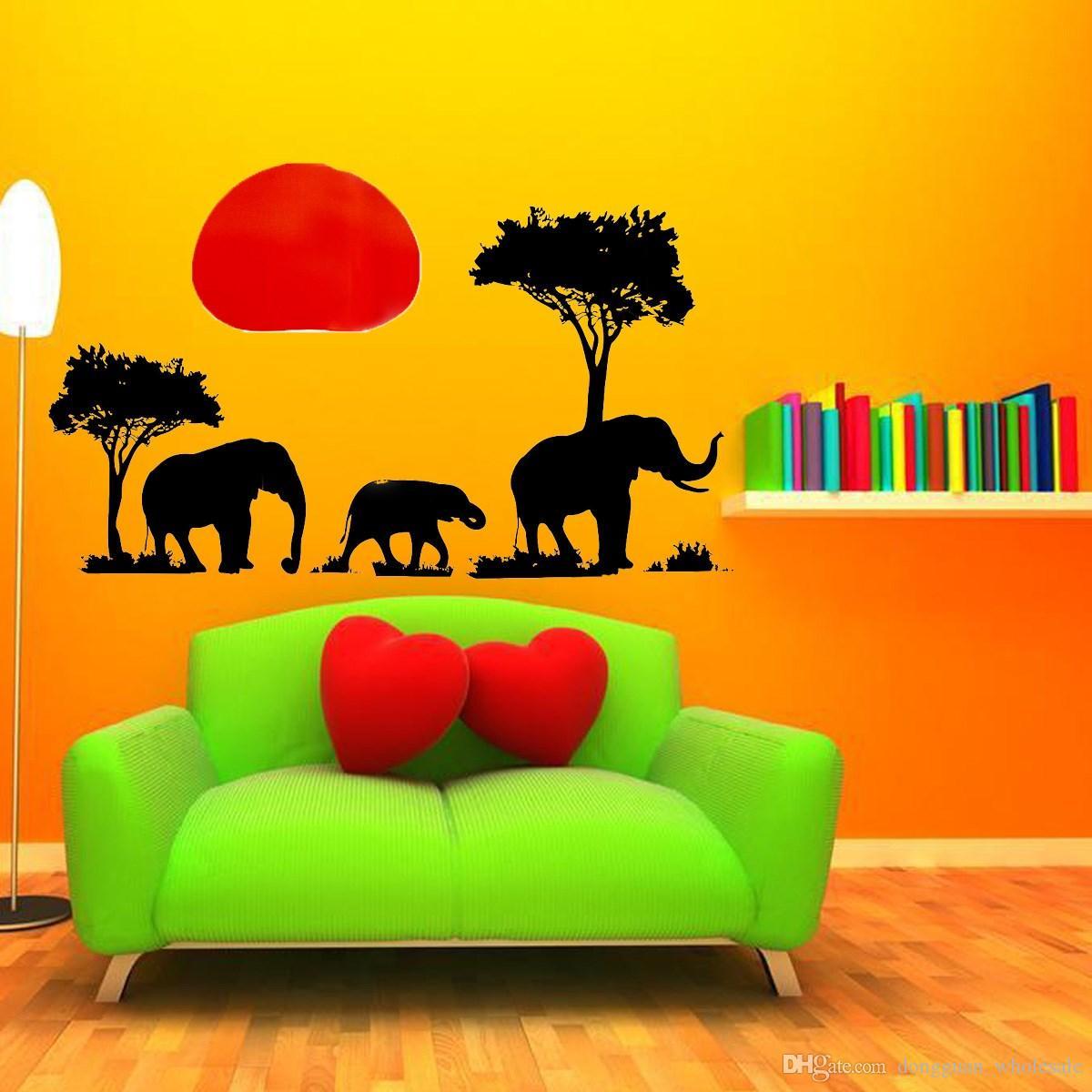 Yeni Varış PVC Çıkarılabilir Fil Ağacı 70x50 cm DIY Çıkartmaları Duvar Kağıdı duvar sticker Oturma Yatak Odası Arkaplan Dekorasyon 2016