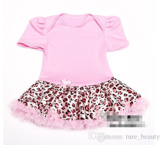 Yeni Yaz Bebek Kız Yenidoğan Prenses Tutu Elbise, Pembe Leopar Elbise Çocuk Giyim, 3 adet Elbise + 3 adet Hairband, 6 adet / grup
