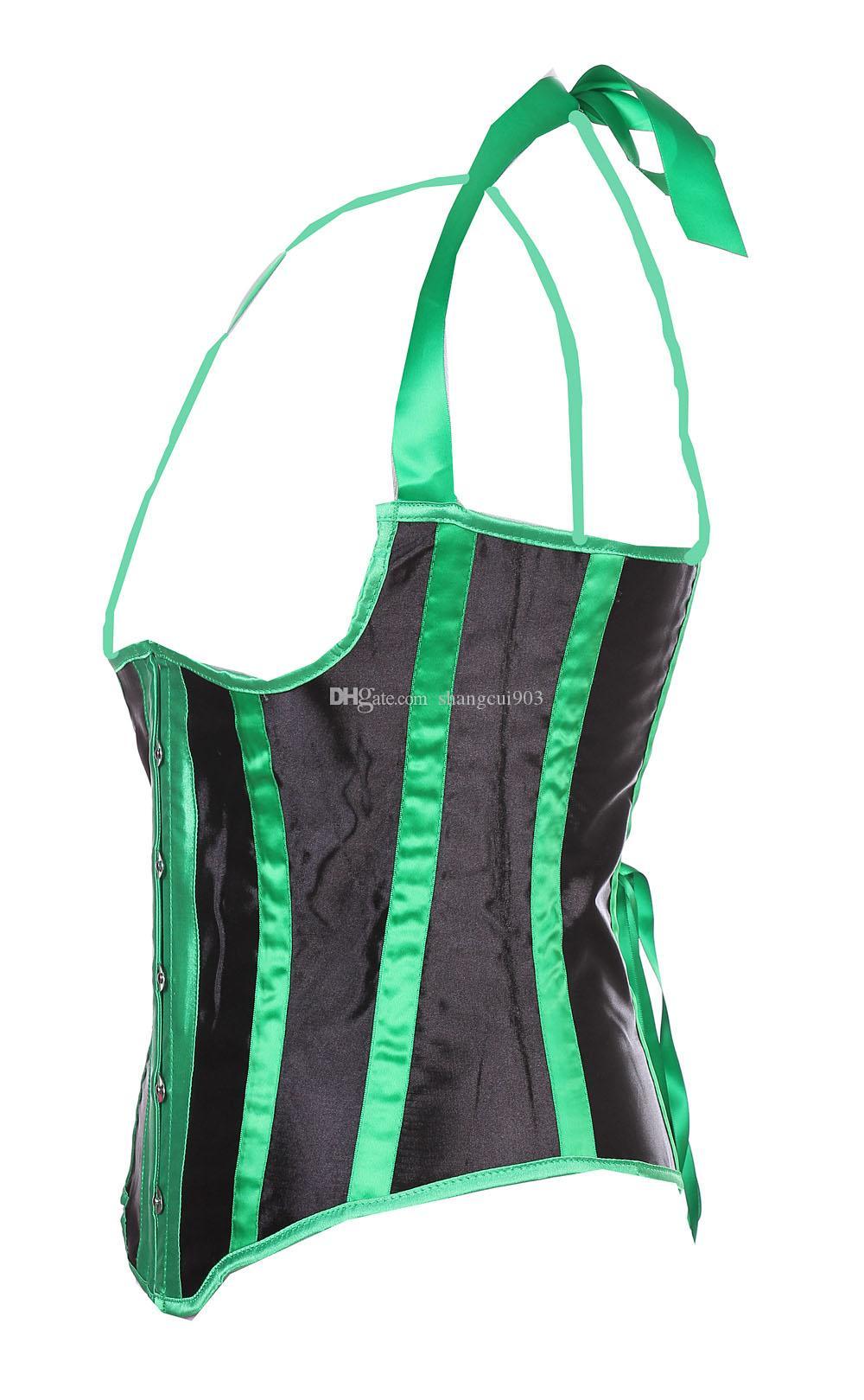 شريط أخضر صقيل أسلوب صدرية Underbust مشد الباسك Bodyshaper بوستير المخصر