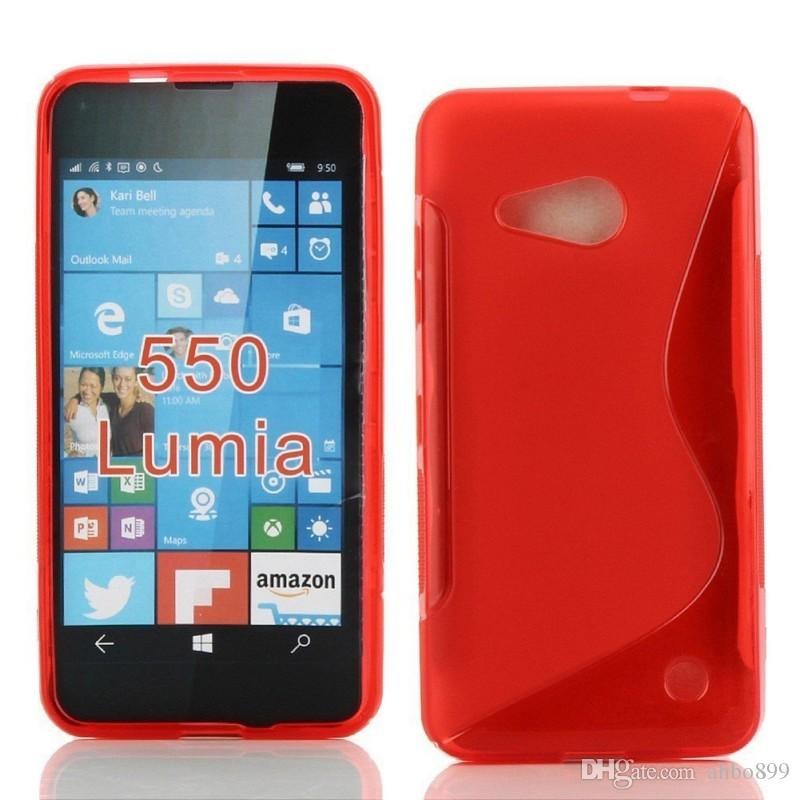 Wholesale Hot Pink S Line Flexible TPU Protective Soft Case Cover for Microsoft Lumia 550 Phone Bag Free