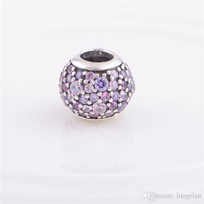925 ALE Sterling Silver pandora bracelets beads jewelry Multi Pave Ball Crystal bead Charm ,Fit DIY European Charm Bracelet for women