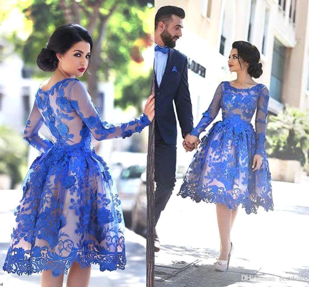 2017 Royal Blue Sheer Long Sleeves Lace Cocktail Dresses Scoop Knee