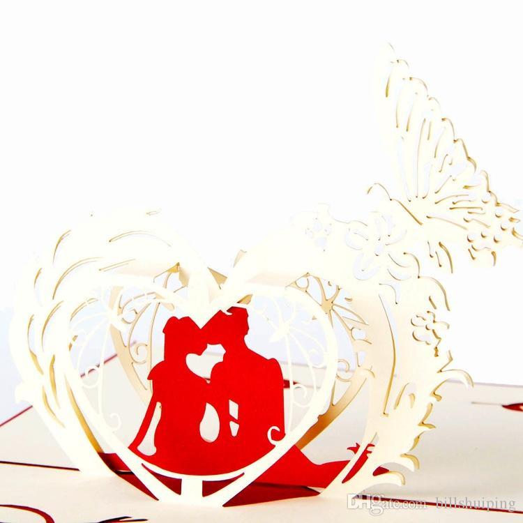 100mm x 150mm sevgililer günü 3D Pop UP Hediye Tebrik 3D kartları El Yapımı kağıt Yaratıcı Mutlu Kartları düğün davetiyesi Tebrik Kartları