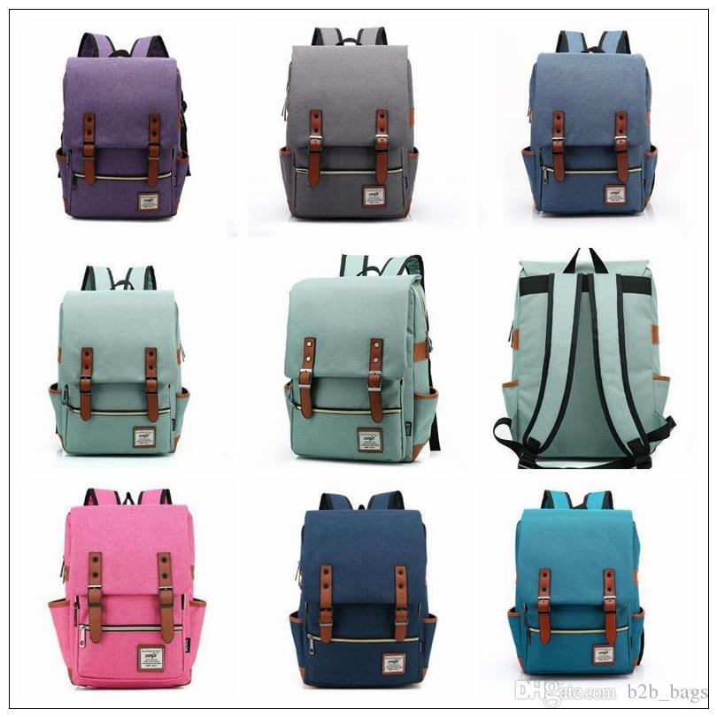Vintage Women Canvas Backpacks For Teenage Girls School Bags Large ...
