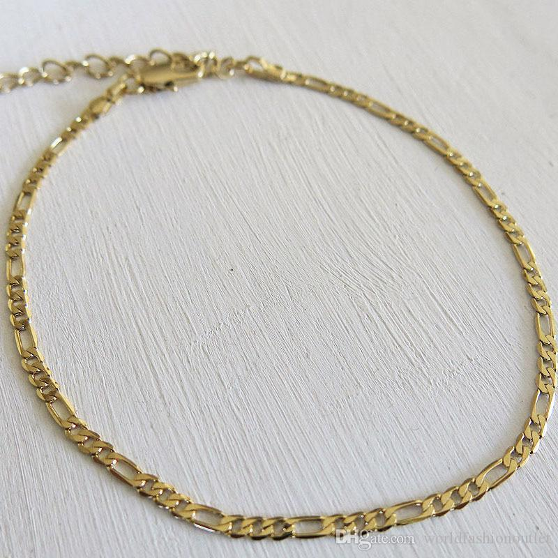 Anklets Foot Jewelry Gold silver Plated Gift Women Girl Foot chain Sexy Simple Gold Anklet Ankle Bracelet Womens Figaro Link Foot Jewellry