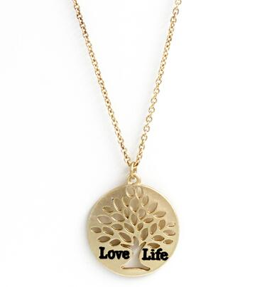 Wholesale Tree Of Life Gold Heart Leaf Love Life Letter Gold Pendant
