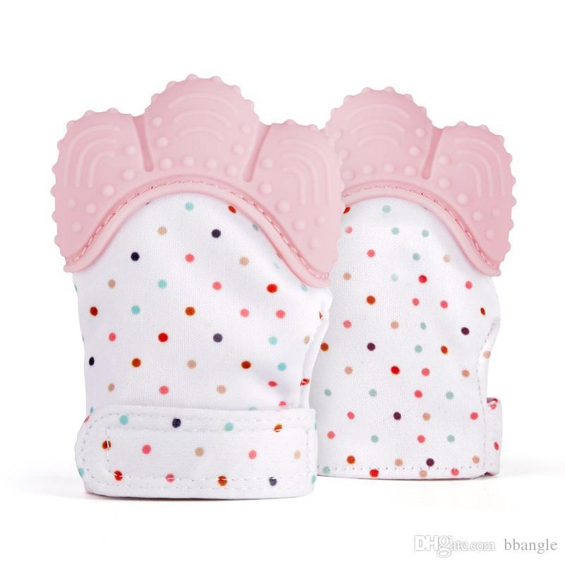 Silicone Baby Mitts Teething Mitten Glove Teething Chewable Newborn Nursing Teether Beads Infant BPA Free Sound Teethers Xmas Gift
