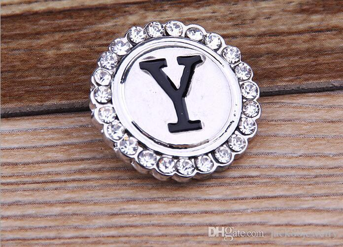 JACK88 DIY Initial A-Z Alphabet Snaps 18mm Letter Snap Button Jewelry for Ginger Snap Charm Bracelet Jewelry N041