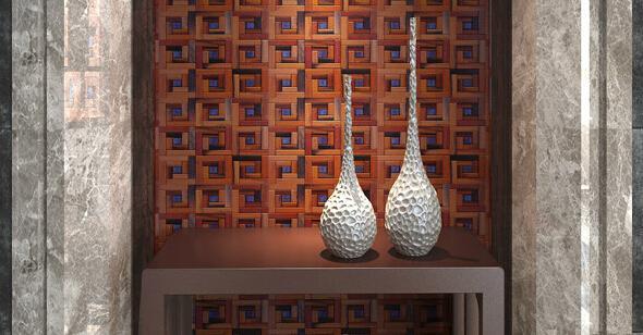 2017 3d wooden mosaic tiles blue stone dots interior design wall