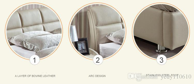 TRANSPORTE LIVRE GENUÍNO cama de couro estilo moderno e elegante acinzentada AMARELA SIMPLES DUPLO PESSOA FASION BOA QUALIDADE 180 * 200 A63DE
