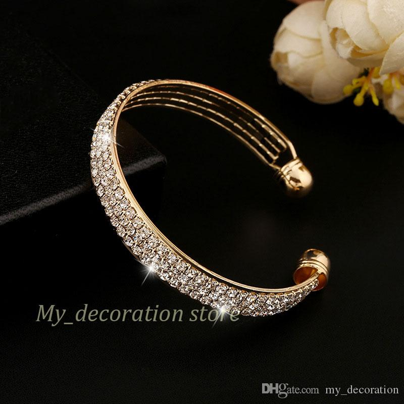 De haute qualité bon prix splendide et de luxe cristal bracelet en argent diamant bracelet bijoux avec 3 lignes de cristal