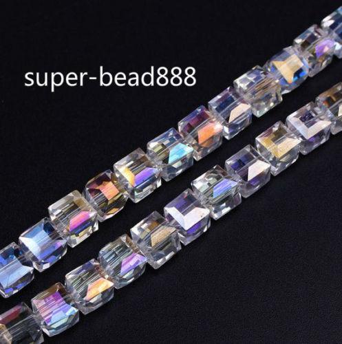 Navio livre NOVO AB Facetado Suqare Cristal De Vidro Soltos Spacer Beads Para Fazer Jóias 4mm 6mm 8mm