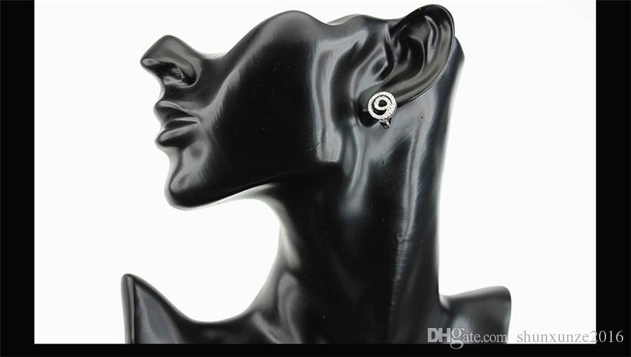 새 목록 승진 노블 관대 한 베스트 셀러 MN3171 클래식 화이트 큐빅 지르코니아 Shinning 구리 로듐 도금 패션 귀걸이
