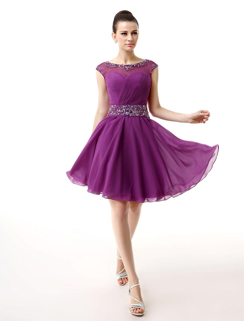 Compre 2016 Púrpura Prom Corto Vestidos De Cristal Cristales ...