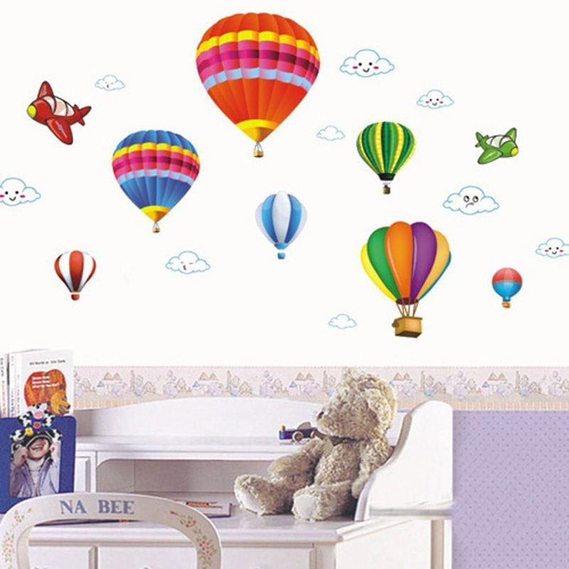Removable Vinyl Wall Stickers,Diy Cartoon Airplane And Hot Air Balloons  Home Decoration Wall Decals,50*70cm Children U0027S Room Wallpaper Decal  Wallpaper ...