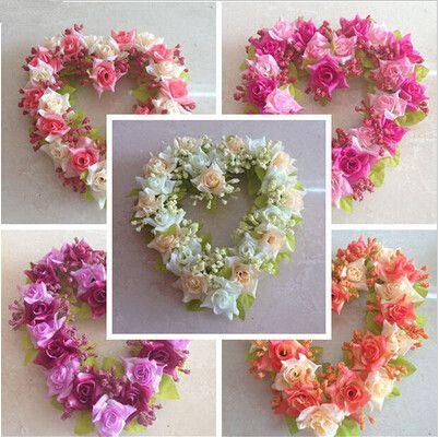 2019 15 Off On Sale Fake Flowers Silk Flowers Heart Shaped Wreath