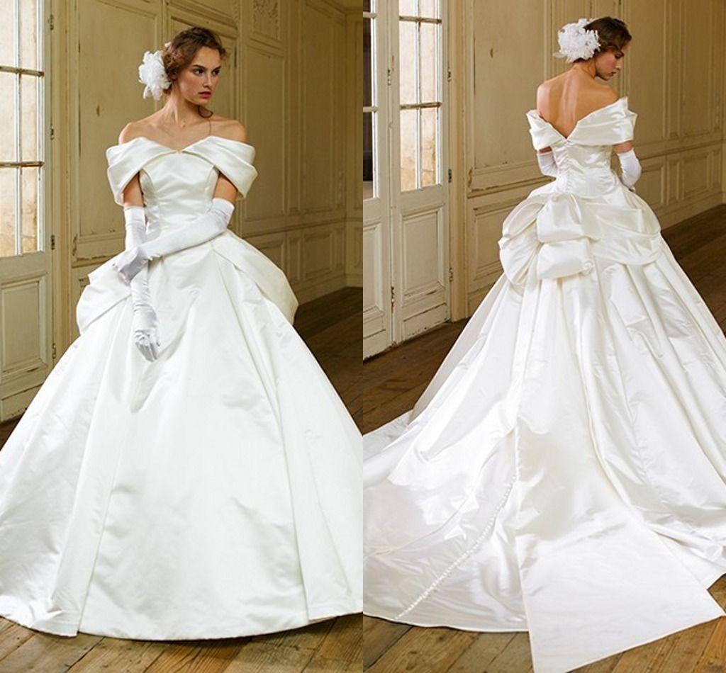Discount Vintage Gothic Wedding Dresses Ivory China Satin Bridal ...