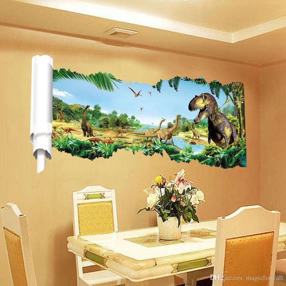 Большой 3D вид Юрского времени динозавр прокрутки стены наклейка наклейки мальчиков детская комната питомник Декор стен динозавры обои стикер плакаты