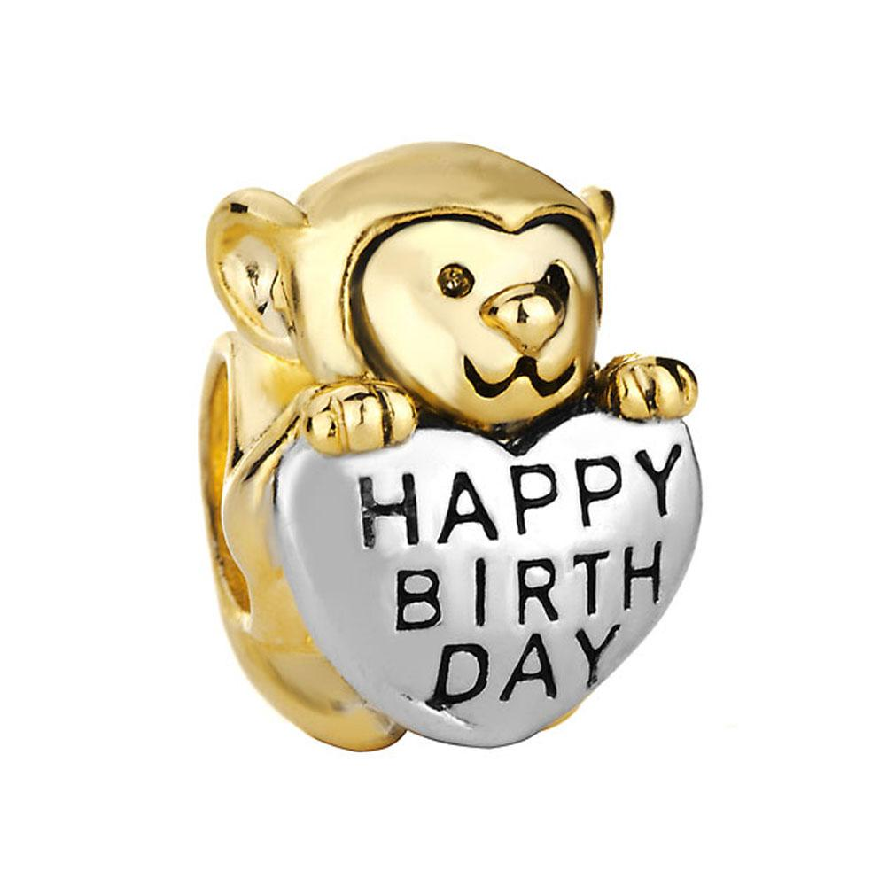 2018 Monkey Holding Heart Charms Bracelet Love Happy Birthday
