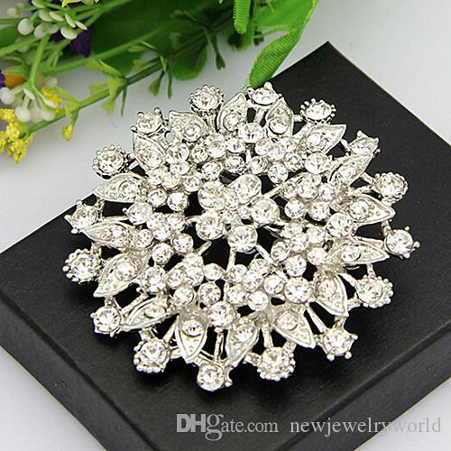 Rhodium Plated Bling Bling Crysals Big Flower Brooch For Wedding Party Engagemet Cheap Price Factory Good Quality Popular Buckle Pins