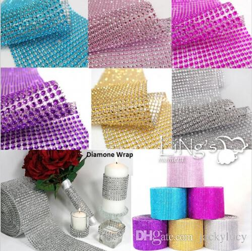 New 2015 Wedding Gift DIY Craft Accessories 24 Rows Diamond Mesh Wrap Sparkle Rhinestones Crystal Ribbon 10 Yards/Roll For Party Decoration