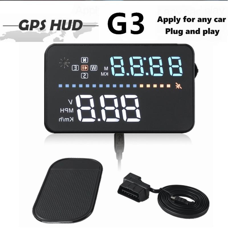 Coche Universal HUD GPS Head Up Display 3.5 pulgadas Velocímetro Automático Multicolor LED Pantalla Sobrecalentamiento Advertencia Alarma Parabrisas Proyector