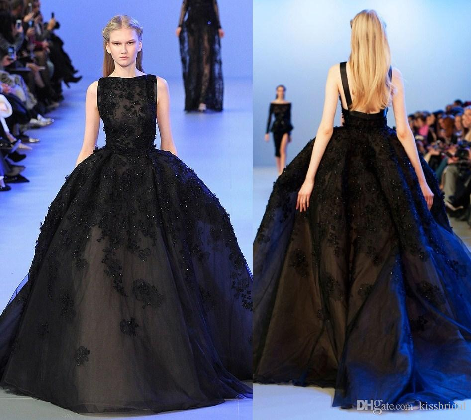 2016 High End Elie Saab Black Prom Dresses Boat Neck Beaded Lace ...