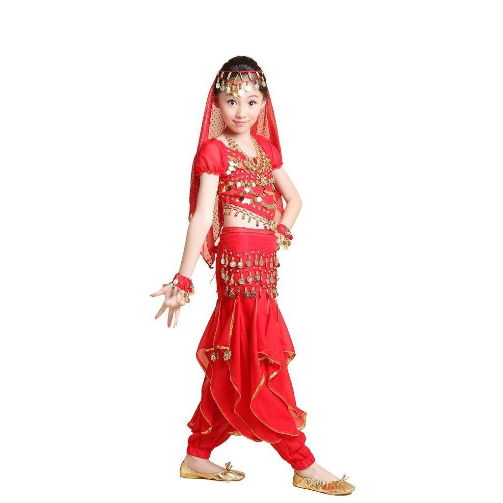 53f0a43e2 2015 Promotion New Kids Girl Bollywood Indian Dress 5PCS Top+Pant+Belt+Veil+Bracelet  Children Belly Dance Costumes Vestidos Set