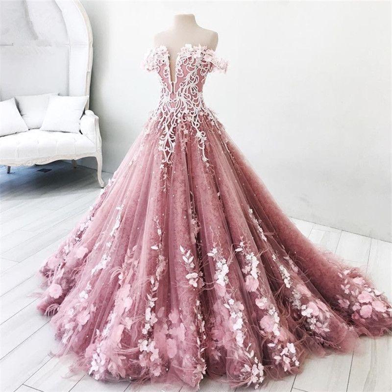 Robe de bal superbe robe de bal Encolure Sexy Zipper Retour balayage train Plis Tulle avec appliques embrodiery perlage robe de soirée