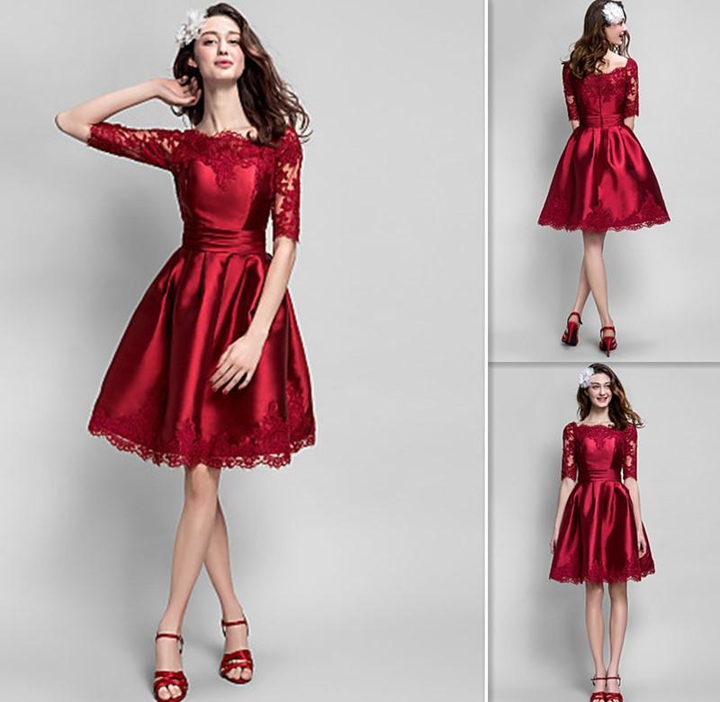 f3350fcc72 Designer de vestidos de coquetel 2015 meia manga na altura do joelho  Borgonha cetim apliques de renda a linha de vestidos de baile Sheer Party  Fiesta Dress ...