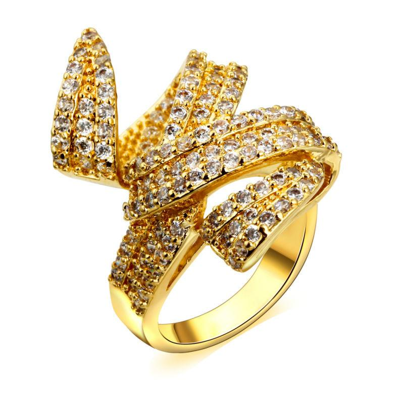 2018 Woven Design Ladies Gold Engagement Rings Top Quality Cubic ...