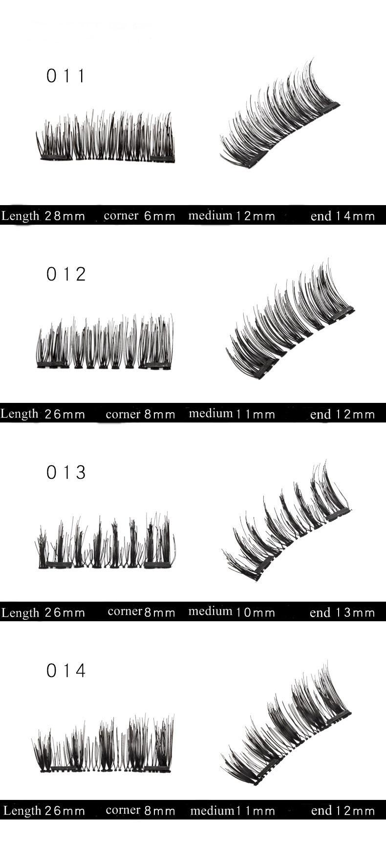 Manyetik Yanlış Eyelashes 3D Vizon Kirpikler Yeniden kullanılabilir üç / çift Mıknatıslar Kirpikleri Uzatma 3D Kirpik Tam Şerit Uzantıları Manyetik Göz Kirpik