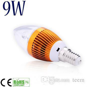 DHL Dimmable 9W 크리 어 LED 촛불 전구 E14 E12 E27 조명 램프 높은 전원 led 통 led 램프 샹들리에 조명 110-240V CE ROHS