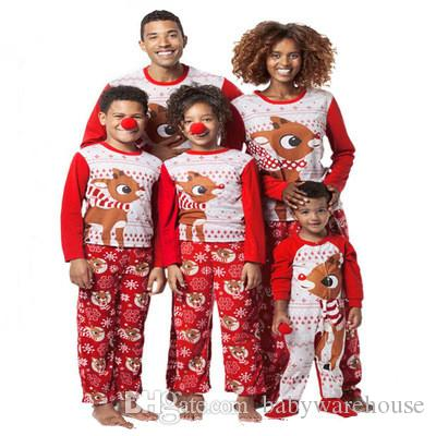 Christmas Pajamas Family Matching Clothes Sets Father Mother Daughter Son Outfits Elk Print Kids Hawaiian