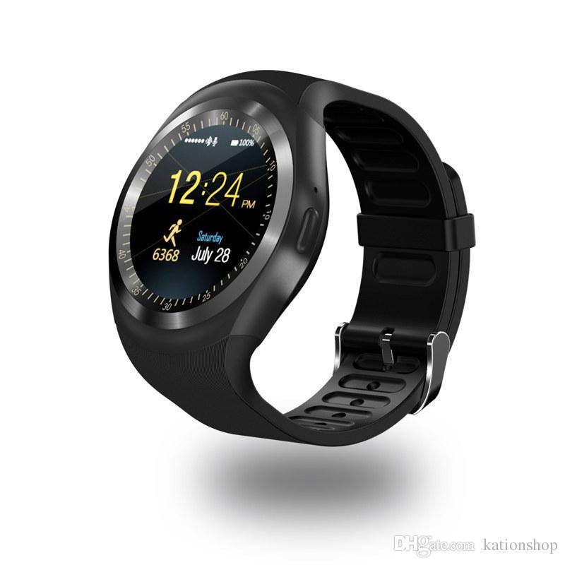 Y1 Smart Watch Wrisbrand Armband Runde Touchscreen mit SIM-Kartensteckplatz für Apple iPhone Samsung Android Sony Herzfrequenz Smartwatch