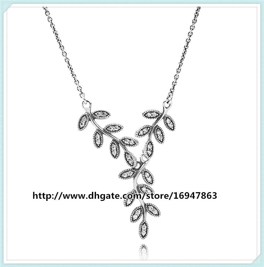 100% стерлингового серебра 925 цепи сверкающие листья падение ожерелье с ясно Cz подходит Pandora стиль ювелирные изделия подвески и бусины