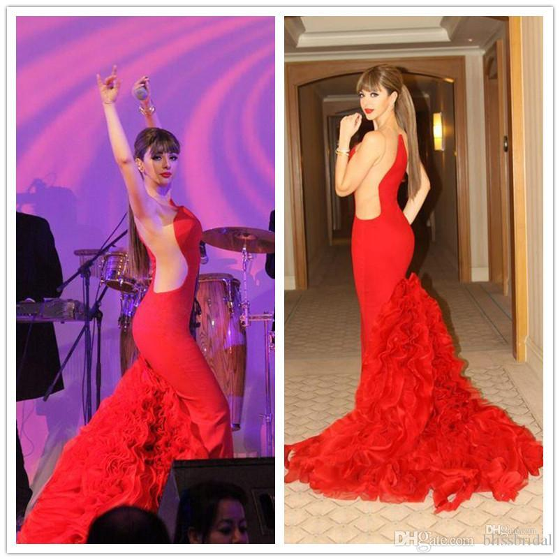Red Sheer Ruffles Ball Gown Mermaid Evening Prom Dresses Celebrity ...