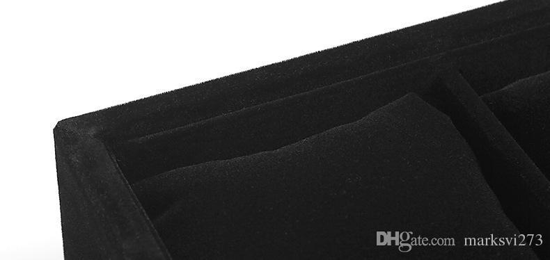 Visualizza gioielli all'ingrosso Qualità Velluto nero 12 Booths Bracciale Bangle Watch Organizer Storage Stand Holder Tray