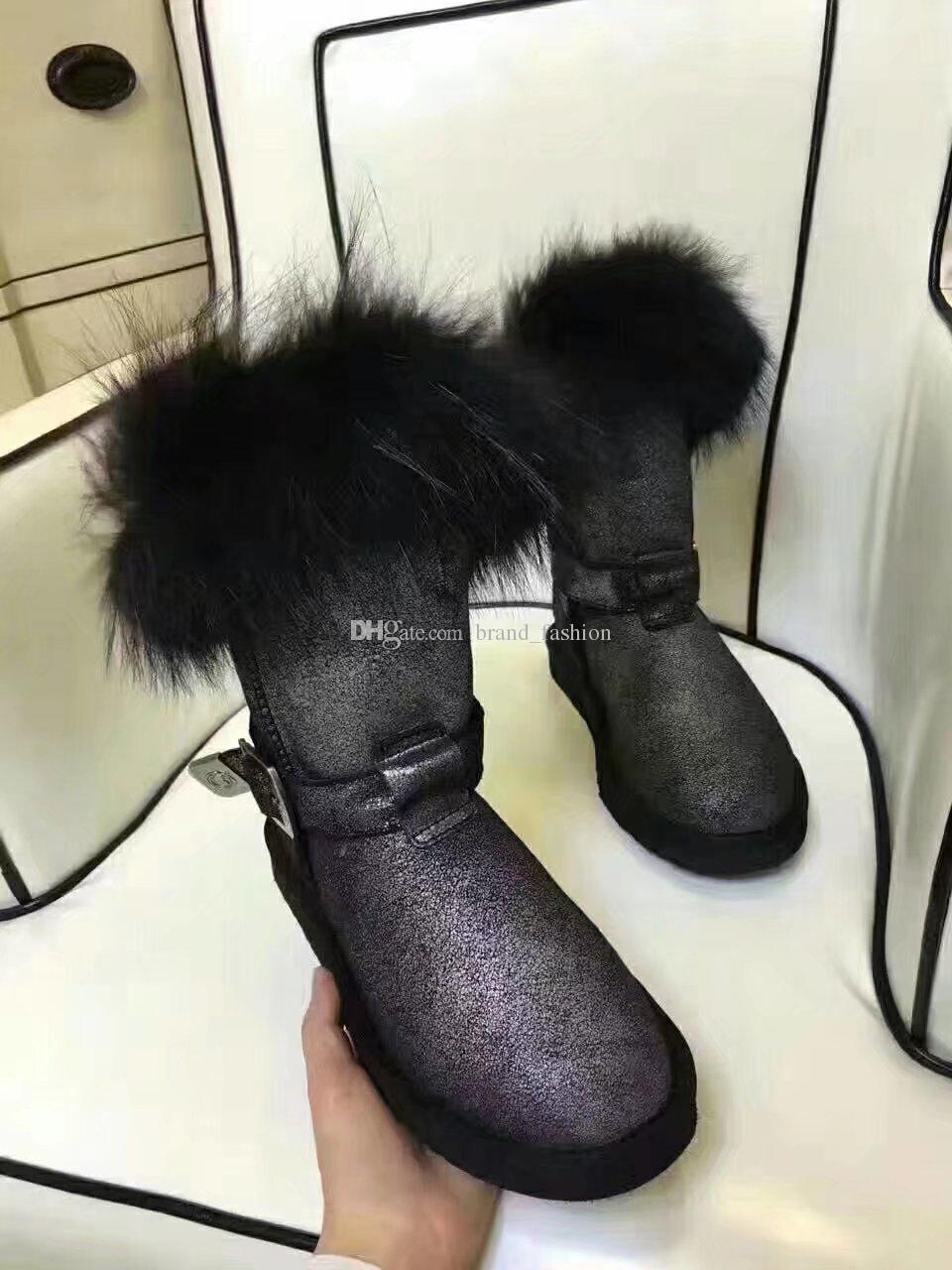 Botas de neve de pele de raposa inverno sapatos Botas de inverno de pele de vaca quente moda calcanhar