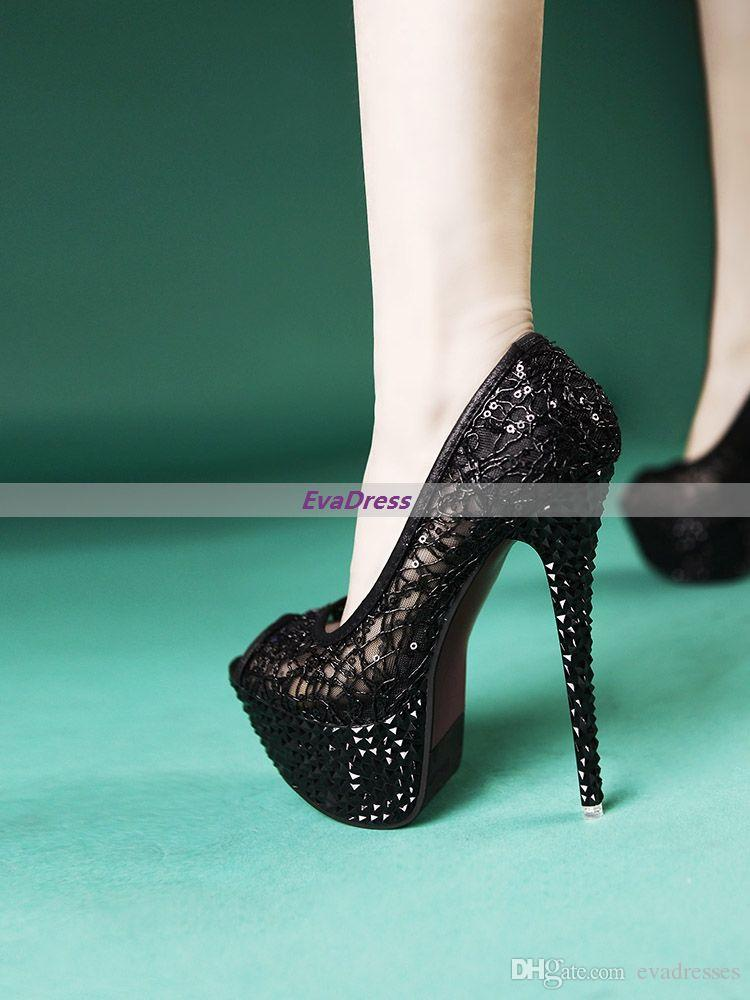 Fashion Glitter Beads Prom Pumps Femme Sexy Platform Wedding Peep Toes Black Golden Nightclub High Heels Shoes For Women