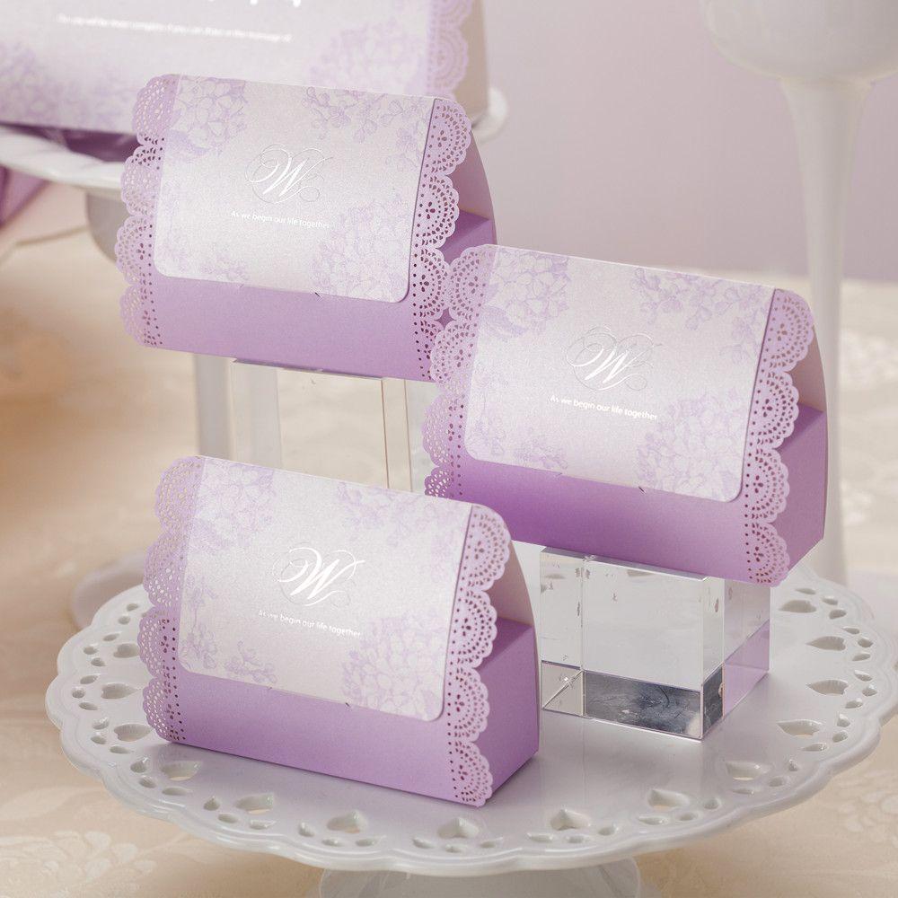Luxury Laser Cut Candy Box Wedding Engagement Purple Party Favour ...