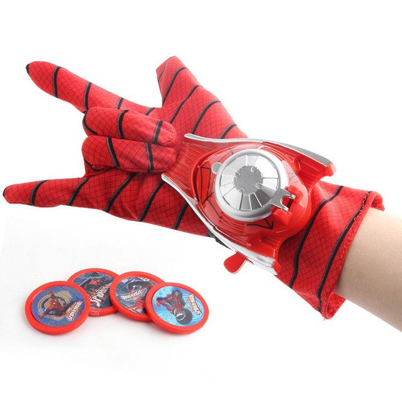 Spiderman Halloween Cosplay Props Kids Toy Launcher Glove con Frisbee