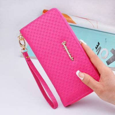 designer wallet lady women M series solid pink black fashion leather long zipper medium purses