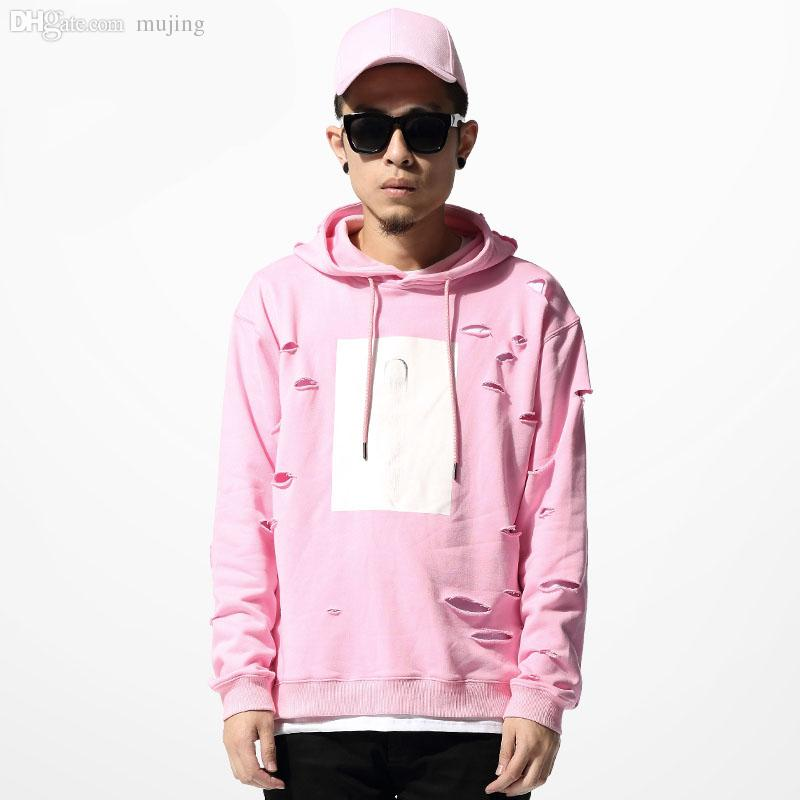 Discount Wholesale 2015 Hot Mens Hip Hop Pink Hoodies Sweat Suit ...