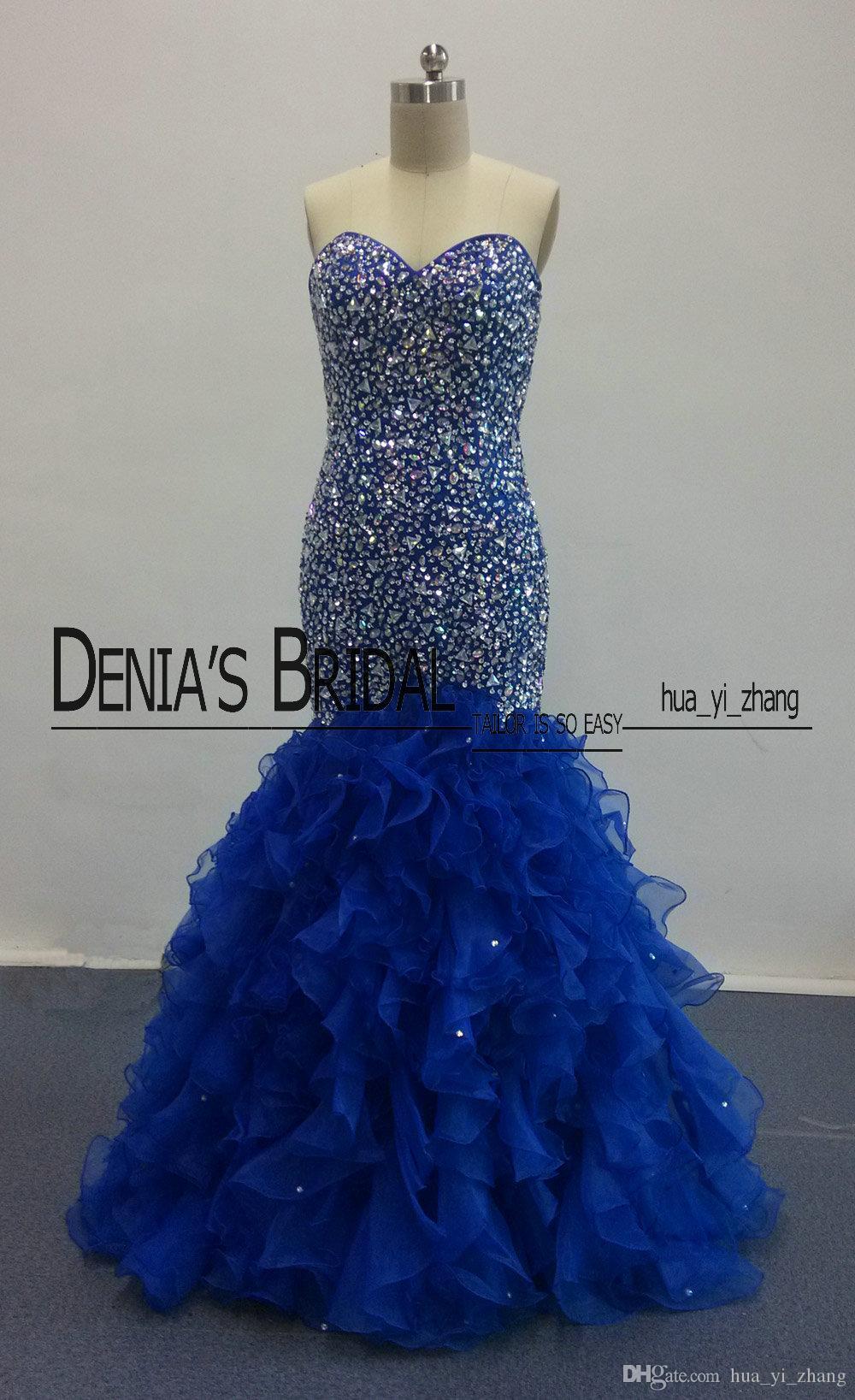 Robes de bal royale bleues 2016 Blingbling sirène avec corsage perlé avec des robes de soirée en organza tulle à volants Images réelles