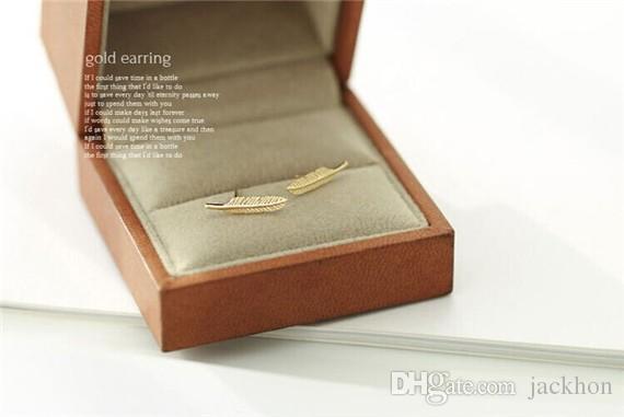 - S043 Fashion Silver Gold Metal Feather Stud Earrings Cute Plant Tree Long Leaf Stud Earrings for Women Ladies