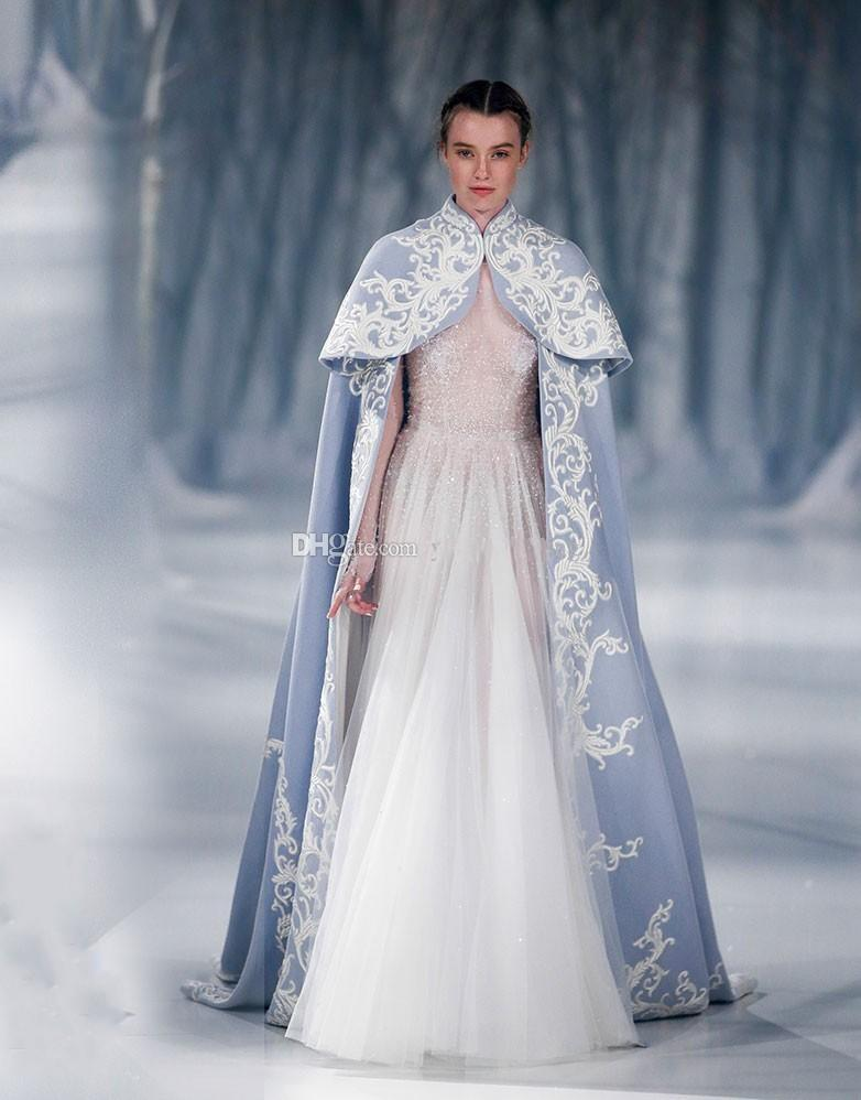 Paolo Sebastian Wedding Jacket Wrap For Bride High Neck Wedding Cape Embroidery Satin Cloak Jacket Bridal Bolero Shrug Dubai Abaya