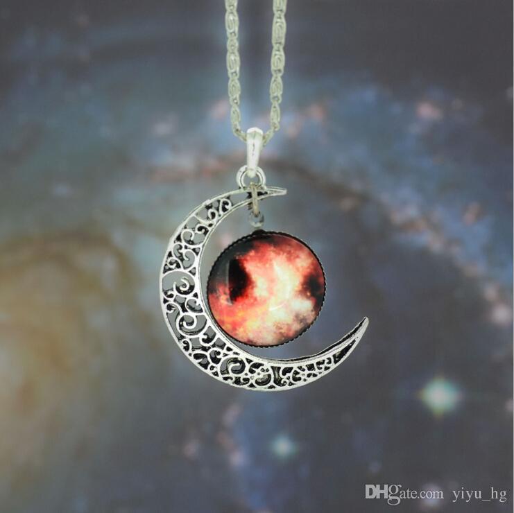Цепь 12 цветов урожай Луна ожерелье звездное Луна космос Вселенная Gemstone ожерелья подвески ювелирные изделия дети аксессуары /много