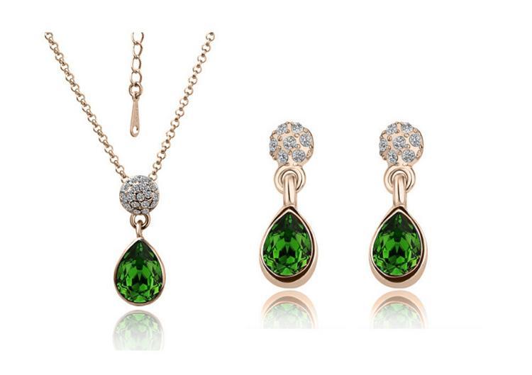 18k Austrian Crystal Necklace Earrings Water Drop Fashion Rhinestone african jewelry For Women Jewelry Sets 1438