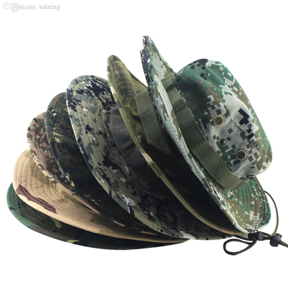 55a2e2db608 Wholesale Camouflage Bucket Hats Jungle Camo Fisherman Hat With Wide Brim  Sun Fishing Bucket Hat Camping Hunting Caps 8 Styles Bowler Hat Panama Hat  From ...